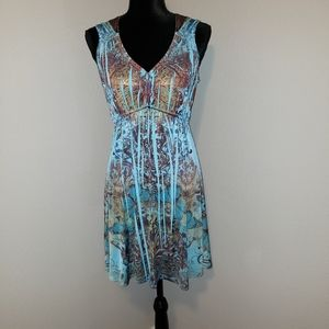 Live and Let Live Blue Floral Dress Sz MP Like New